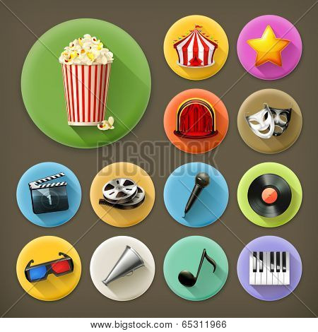 Cinema, music and theater, long shadow icon set