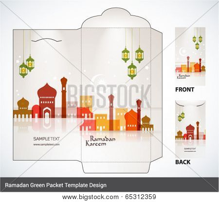 Vector Muslim Mosque Elements Ramadan Money Green Packet Design. Translation: Ramadan Kareem - May Generosity Bless You During The Holy Month.