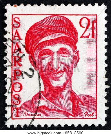 Postage Stamp Saar, Germany 1948 Worker