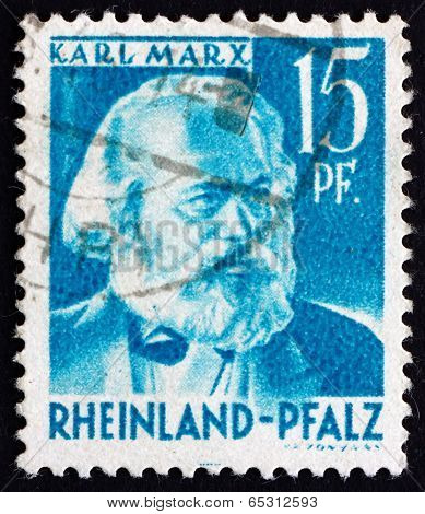 Postage Stamp Rhine Palatinate, Germany 1948 Karl Marx, German P