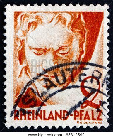 Postage Stamp Rhine Palatinate, Germany 1948 Ludwig Van Beethoven, Composer