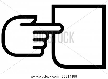 Black vector outline icon of finger pointing on empty paper sheet