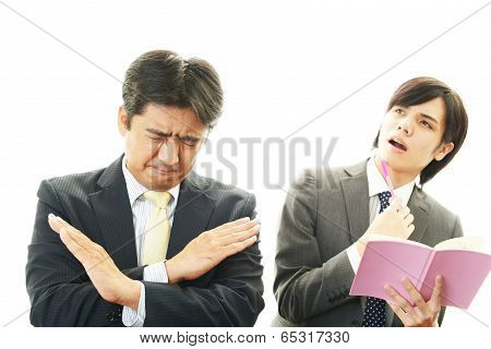 Stressed Asian businessmen