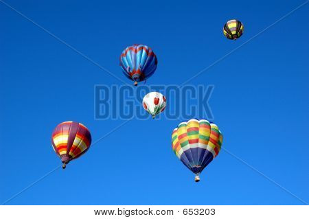 Hot Air Baloons In Blue Sky