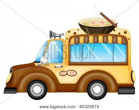 Illustration of a vehicle selling soup on a white background