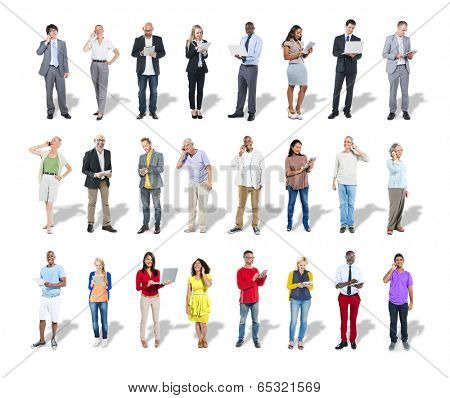 Diverse Casual and Business People Using Digital Devices