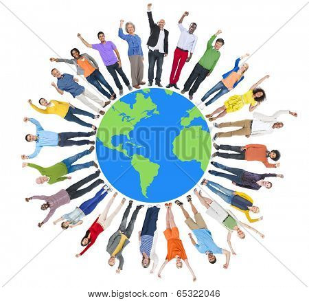 Multi-Ethnic Group of People Arms Raised and Earth