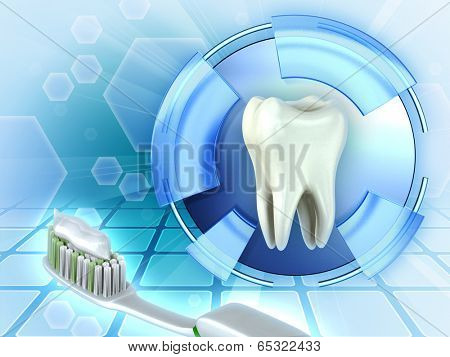 Protecting teeth using toothbrush and toothpaste. Digital illustration.