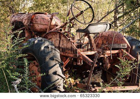 Vintage Tractor in Junkyard