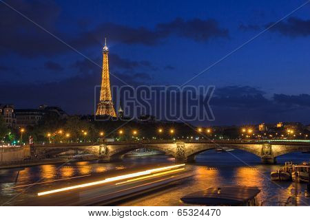 PARIS - MAY 9: Eiffel Tower And Pont Alexandre Iii At Night Illumination