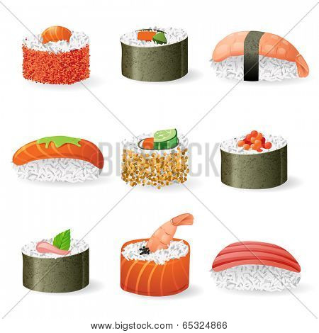 9 highly detailed sushi icons over white background