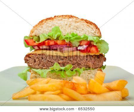 Cheeseburger halbieren