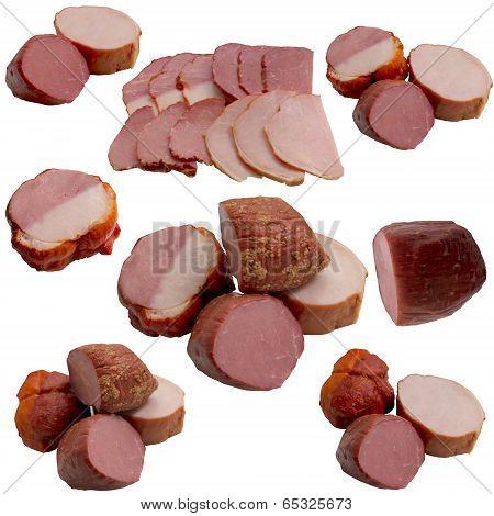 Variety Of Salami And Ham.
