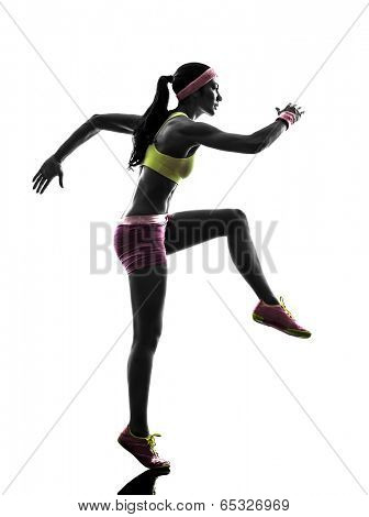 one  woman runner running in silhouette on white background