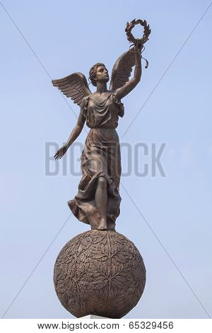 Monument to the Goddess of victory Nike on sphere.