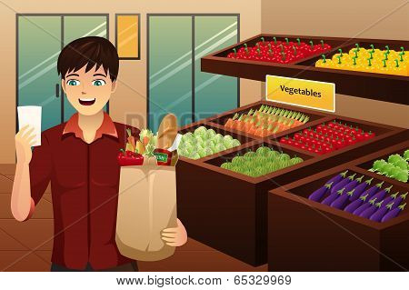 Man Shopping At The Grocery