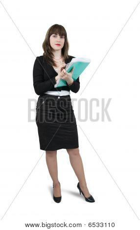 Beautiful Girl In Business Outfit With  Documents