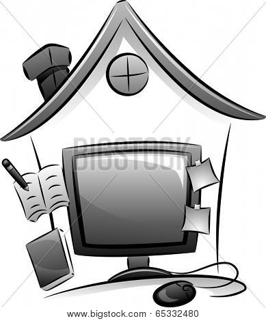 Icon Illustration Featuring a Computer Monitor and a Miniature House Depicting a Home-based Job