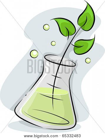 Illustration Featuring a Plant Stalk Soaking in an Erlenmeyer Flask