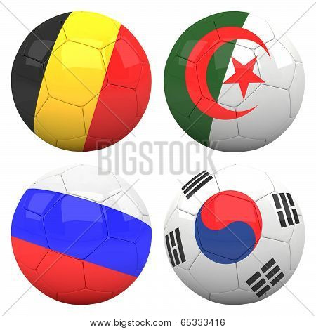3D Soccer Balls With Group H Teams
