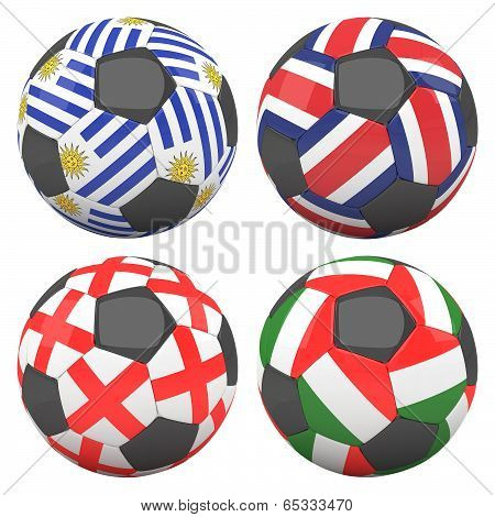 3D Soccer Balls With Group D Teams Flags