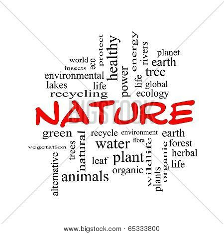 Nature Word Cloud Concept In Red Caps