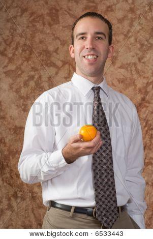 Employee With Orange