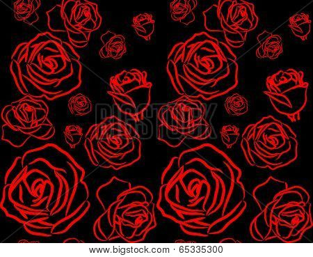Rose On Black Background Seamless