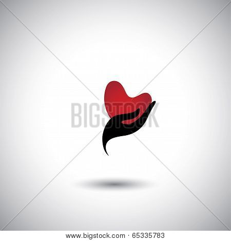 Heart Shape In A Girls Hand Icon - Concept Vector Of Expressing Love.