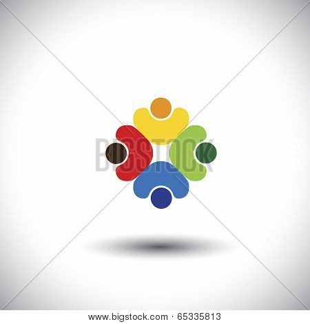 Team Work And Team Spirit - Concept Vector Graphic