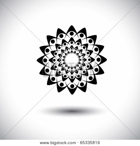 People Holding Hands Together For Oneness - Concept Vector Graphic