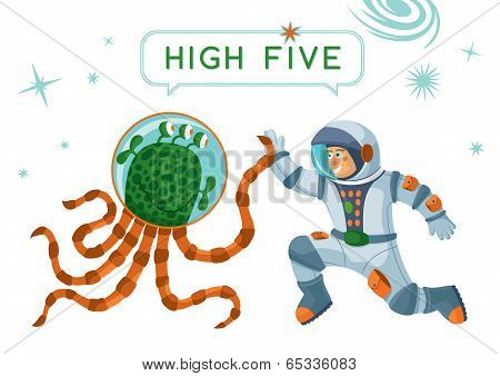 Astronaut And Alien Making High Five.eps