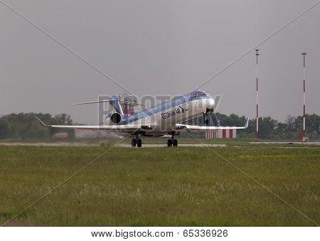 Departing Estonian Air Canadair CRJ-900ER aircraft