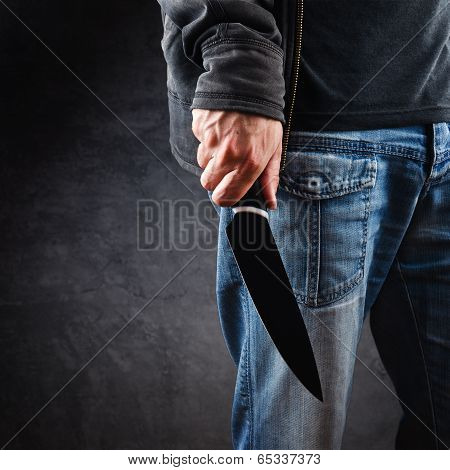 Evil Man Hold Shiny Knife, Killer In Action
