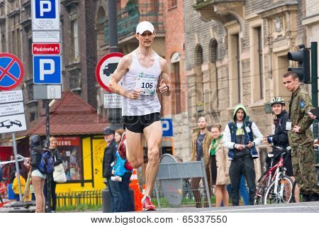 Krakow, Poland - April 28 : Cracovia Marathon. Andrzej Lachowski On The City Streets On April 28, 20
