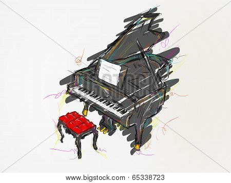 Piano Painting Vector Art