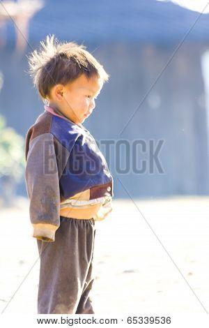 Children Warm Oneself In The Winter Season.
