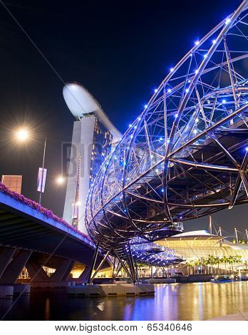 Night View Of Helix Bridge