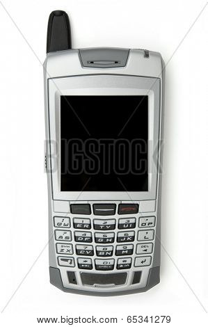Cell phone with organizer over white background