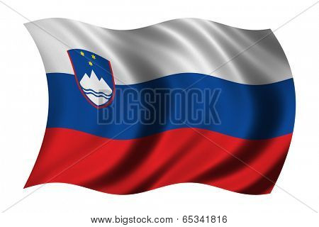 Flag of Slovenia waving in the wind