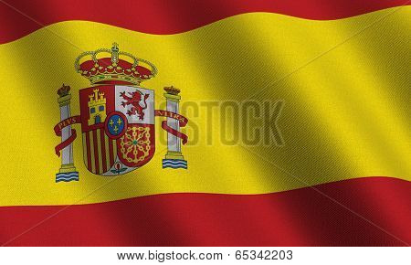 Spanish flag waving in the wind with highly detailed fabric texture