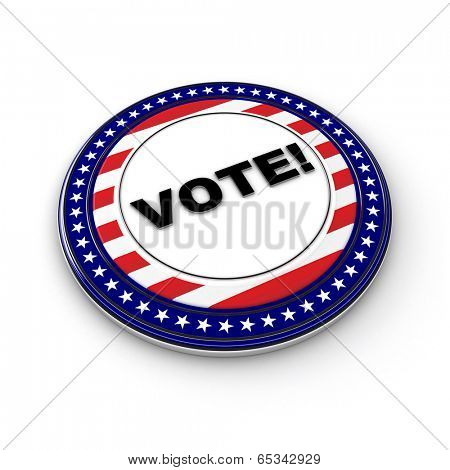 3D US election button over white background