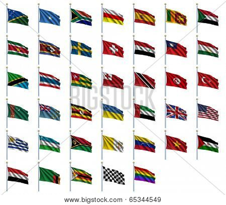 World Flags Set 4 of 4 - S to Z - set of flags in alphabetical order from Solomon Islands to Zimbabwe