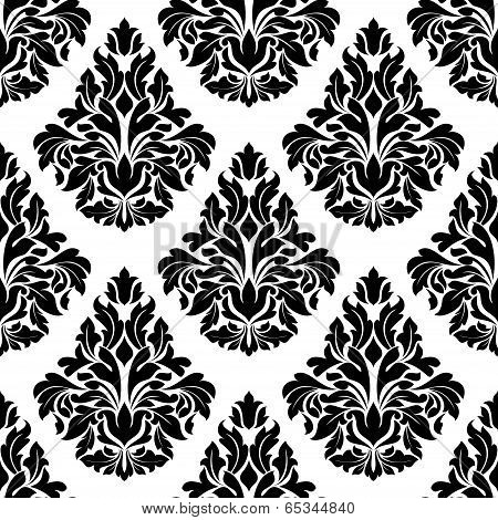 Intricate black and white arabesque design
