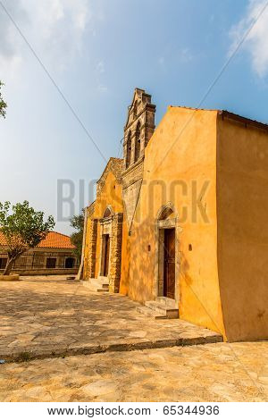Church In Small Cretan Village Kavros In Crete  Island, Greece. Travel Background