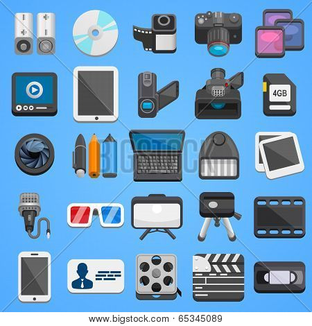 Flat icon set foto video. Vector
