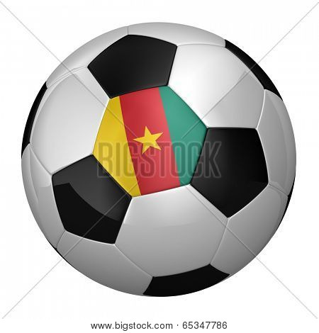 Cameroonian soccer ball isolated over white background