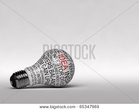 Single light bulb with business expressions on it highlighting the word idea