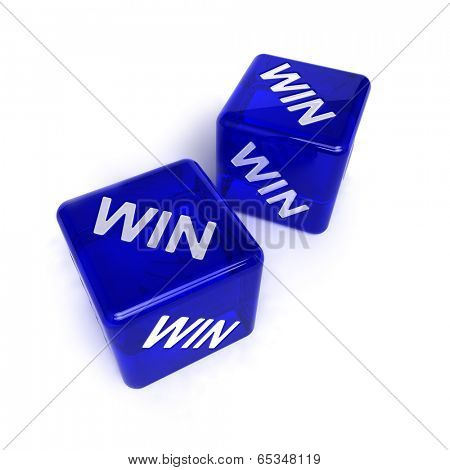 Two blue, semi-transparent dice with the word WIN on them over white background