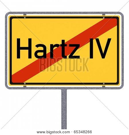 German city limit sign showing the end of Hartz IV over white background